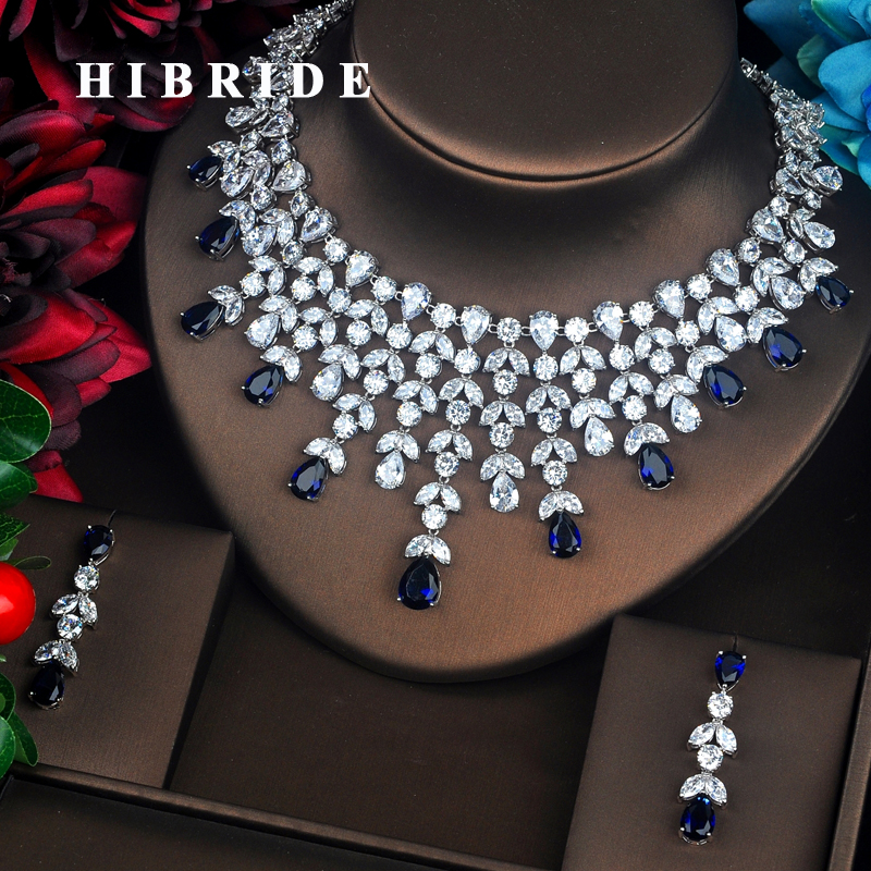HIBRIDE Elegent Sparkling Big Water Drop Blue AAA Cubic Zirconia Jewely Sets For Bridal Wedding Brilliant