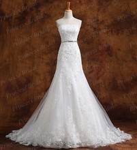 Factory Price Real Cheap Wedding Dress Strapless Appliques Sweep Train Lace Up Back Bridal Gown Dress Wholesale With Beads MF526