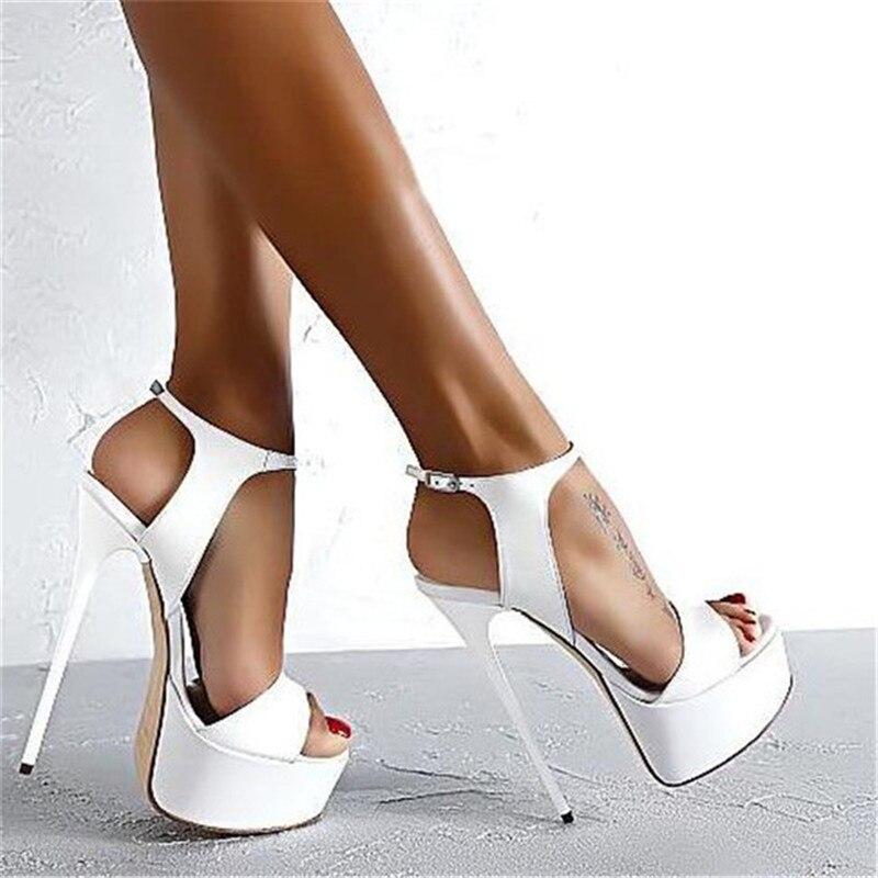 f8eed0e6 2019 nuevo verano Sexy mujeres tacones altos sandalias 17 cm moda Zapatos  de las bombas del partido zapatos mujer plataforma sandalias