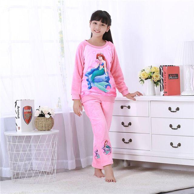 2049f64e4b Newest Sale Kids Flannel Pajamas sets Warm Coral fleece Girls cartoon  sleepwear Children s Winter Long sleeve Homewear clothing