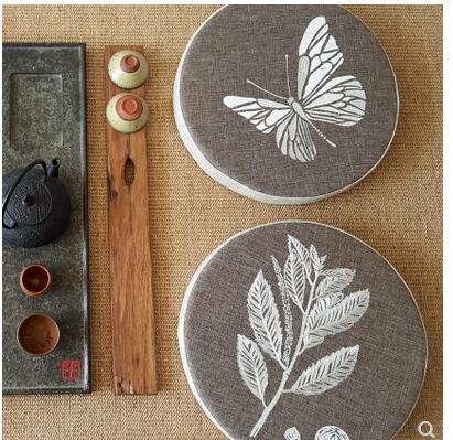 Tissu en lin marron argent papillon/plantes coussin de siège brodé futon tatami tapis de Yoga antidérapant tapis de siège coussin intérieur