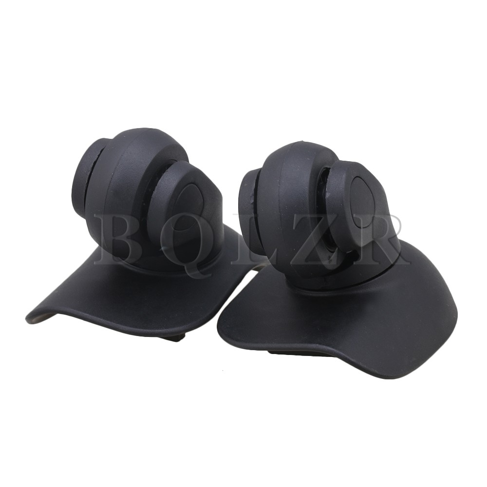 2pcs BQLZR 360 Degree Black Plastic DIY Luggage Wheels Accessories 7.7x8.4CM