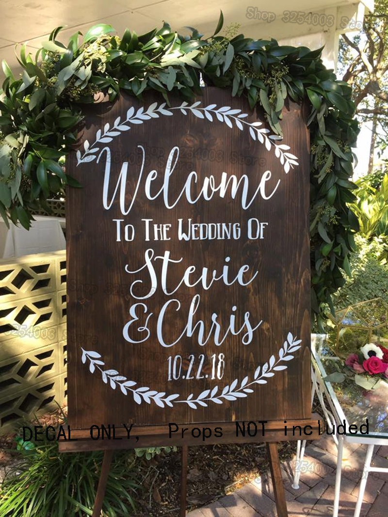 Welcome Wedding Stickers Welcome to the Wedding of Decal Sign Removable Rustic Wedding Decor Personalized Name Date Decals S421