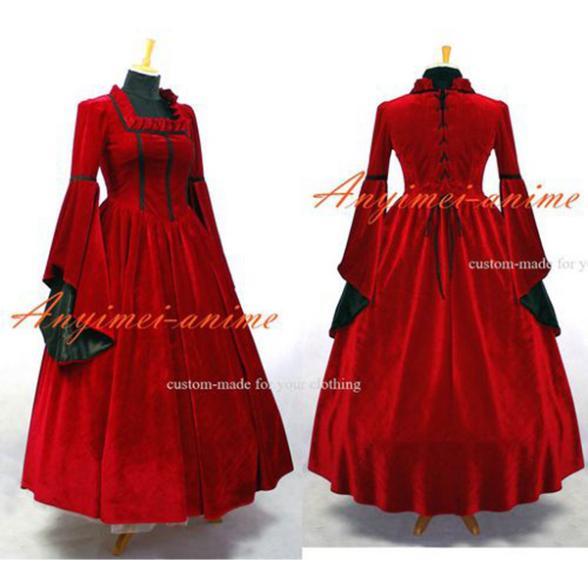 Robe victorienne Rococo médiévale robe de bal rouge gothique Punk velours Cosplay Costume sur mesure [G640]