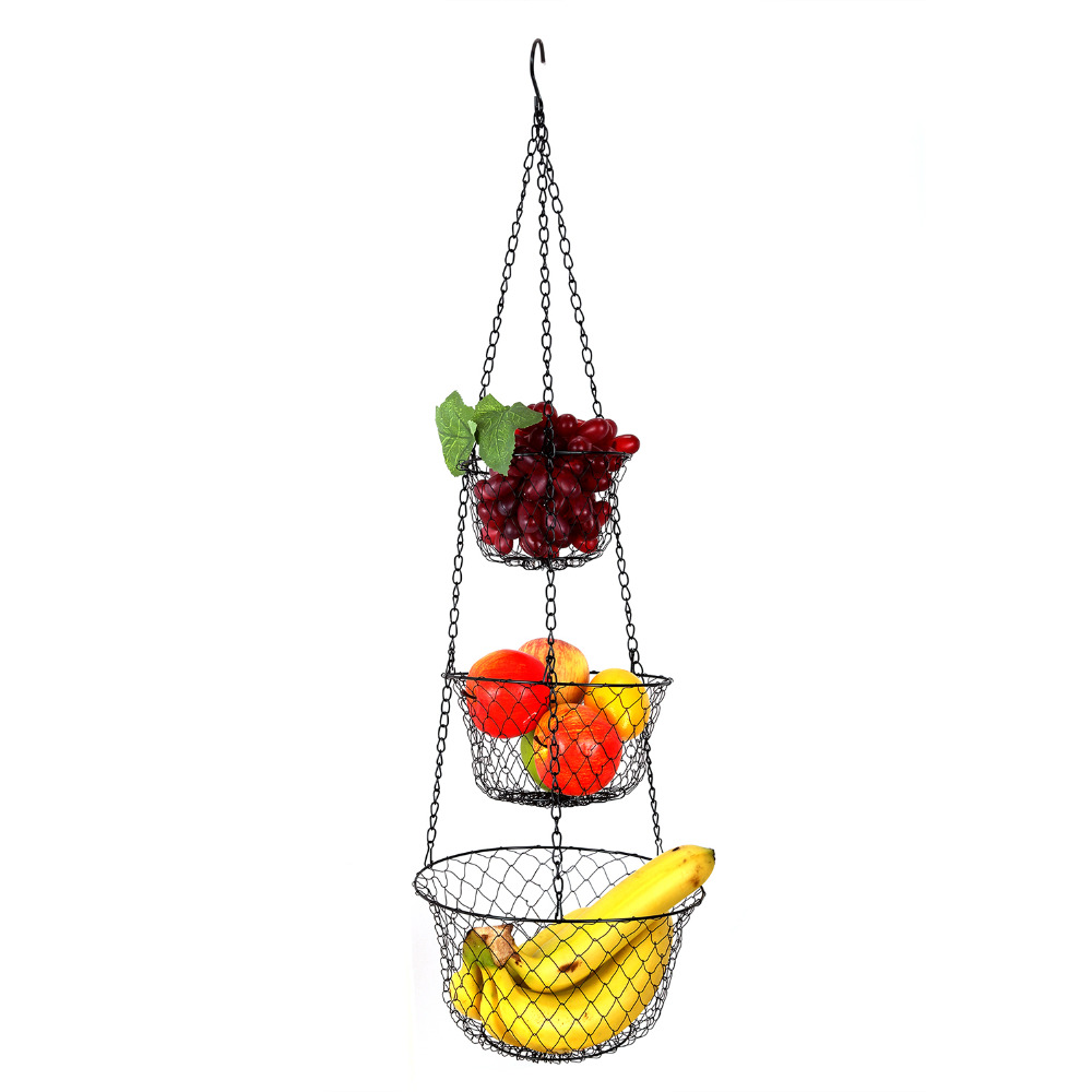 Aliexpress.com : Buy IARTS 3 Tier Foldable Hanging Fruit Vegetable Basket  Food Storage Strainer Net Metal Basket For Kitchen From Reliable Basket  Food ...
