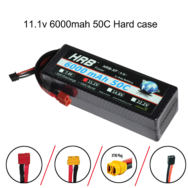 HRB 11.1V 6000mAh 50C-100C RC 3s Lipo battery Hard Case for RC Traxxas car boat helicopter remote control hig-rate 3s batteria as19 h1g as19 hig