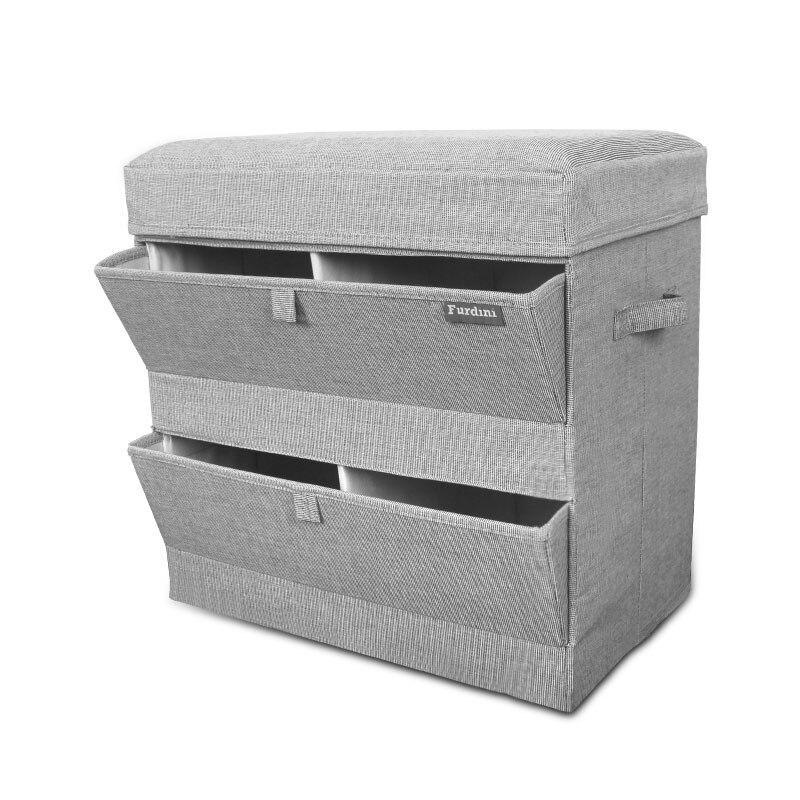 Linge de coton pliable tabouret de rangement boîte de rangement chaussure boîte de rangement multifonctionnelle chaussure boîte de rangement