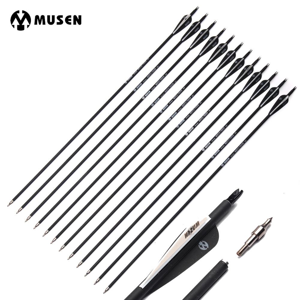 6/12/24 piezas 30 pulgadas Spine 500 Flecha de carbono con blanco y negro cambiable flecha para arco compuesto/recurvo caza tiro con arco