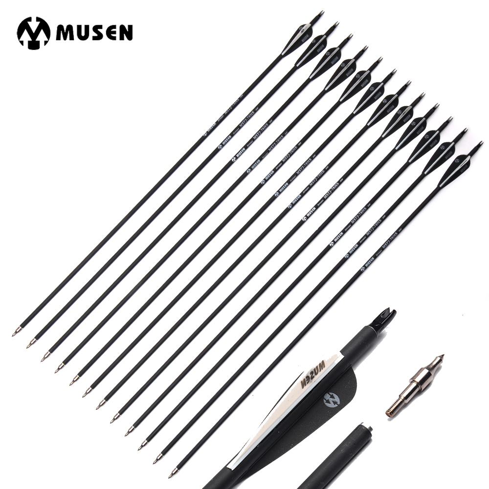 6/12/24pcs 30 Inches Spine 500 Carbon Arrow with Black and White Changeable Arrow Head for Compound/Recurve Bow Hunting Archery