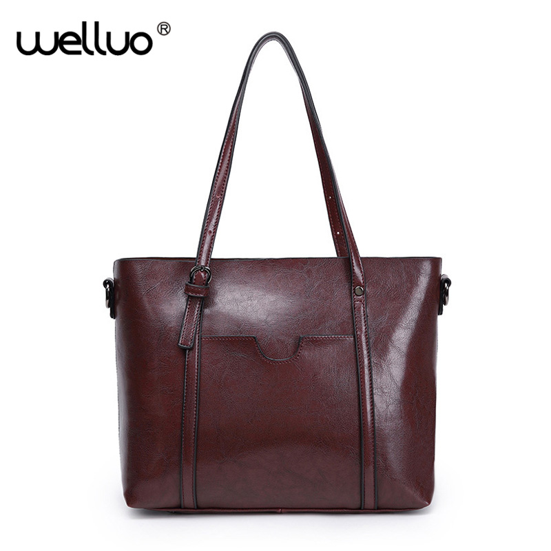 2018 Famous Brand Female PU Leather Handbag  Large Capacity Shoulder Bags Women Shopping Tote Solid Bag sac a main Femmes XA67B