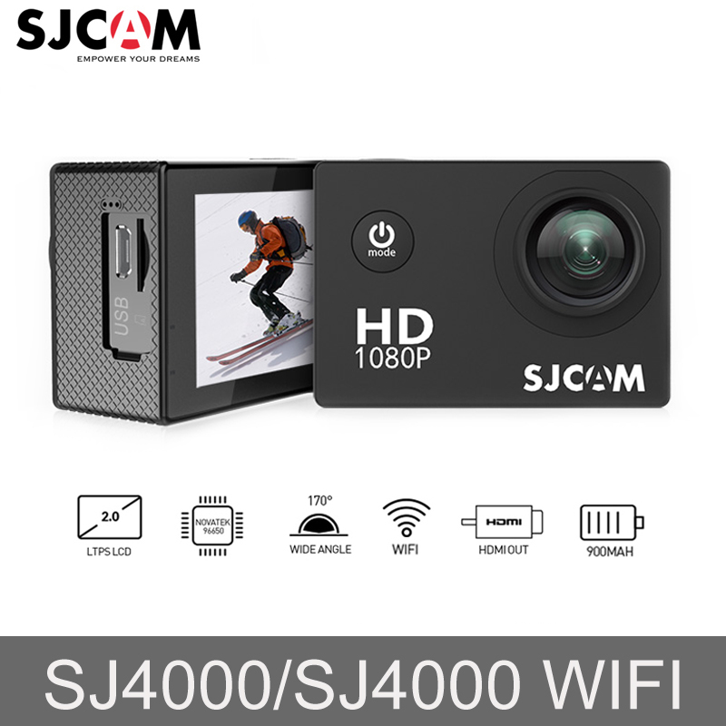 Original SJCAM SJ4000/SJ4000 WIFI Action Camera 2'' Screen 1080P Full HD Sports Action Camera 170D Wide Angle HDMI Mini Car DV f88 action camera black