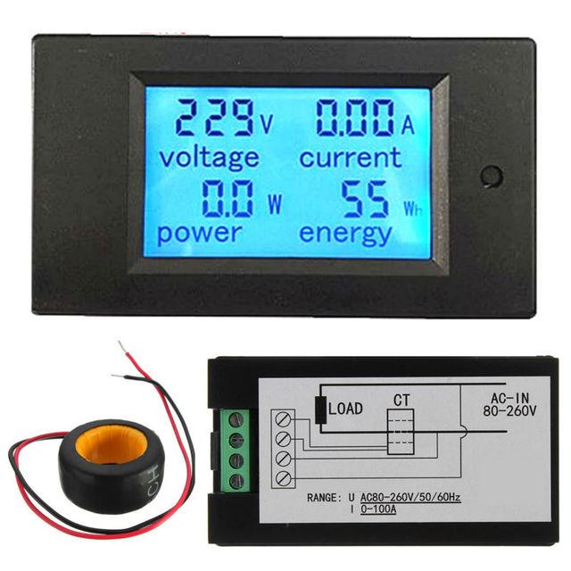 100A AC LED Digital Amperímetro Del Voltímetro Del Metro Del Panel de Alimentación Del Monitor de Energía Del Envío Libre
