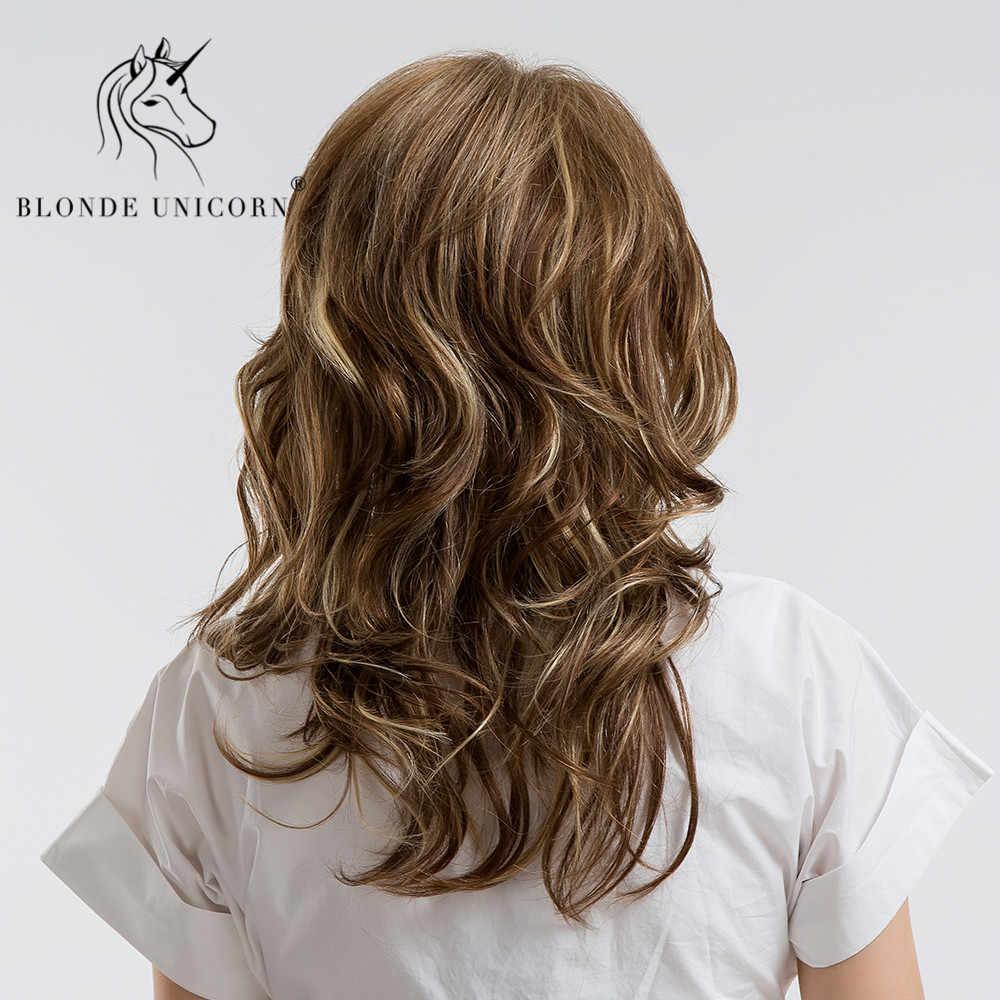 Rambut Pirang Unicorn 18 Inch 30% Rambut Manusia Wig Seksi Panjang Ikal Bergelombang Coklat Penuh Kepala Wig dengan Sisi Poni untuk wanita Gratis Pengiriman SSS