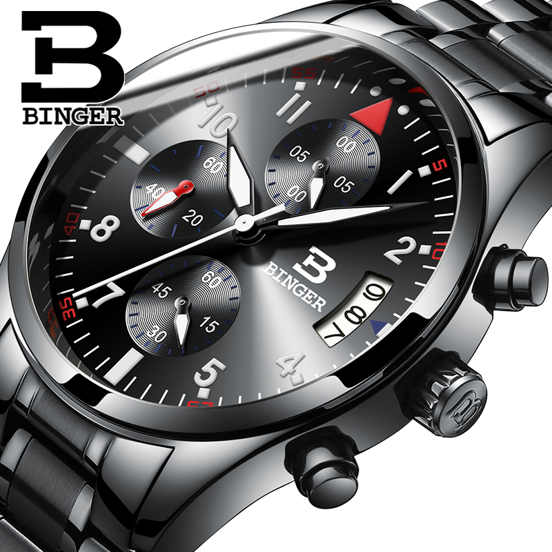 Switzerland men quartz Binger watch Waterproof men's leather strap band sapphire luxury brand chronograph business Wristwatches seiko watch premier series sapphire chronograph quartz men s watch snde23p1