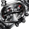Switzerland men quartz Binger watch Waterproof men's leather strap band sapphire luxury brand chronograph business Wristwatches