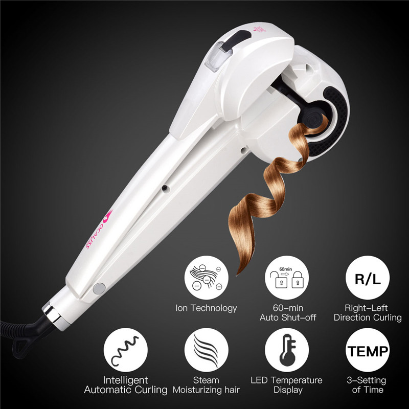 Professional LCD Digital Automatic Steam Spray Heating Hair Curler Magic Ceramic Curling Iron Roller Hair Machine Styler Waver professional automatic steam spray ceramic hair curler roller led digital waver magic curling iron hair styling tools styler