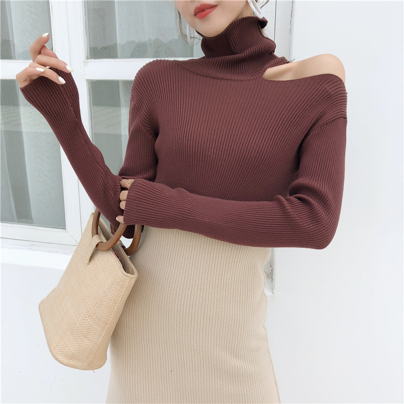 Colorfaith Women Pullovers Sweater 19 Knitting Autumn Winter Turtleneck Sexy Hollow Out Off Shoulder Casual Ladies Tops SW755 19