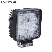 "Купить с кэшбэком ECAHAYAKU 1Pcs 4""inch 27W LED Work Light Floodlight 12V 24V Square LED Offroad Light Lamp Worklight for Offroad Motorcycle Truck"