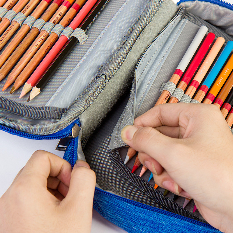 Image 3 - 4 Layers 72 Holes Large Capacity Pencil Case Oxford Zipper Sketch Pencil Bag Handbag Pencil Box School Supplies Art Stationery-in Pencil Cases from Office & School Supplies