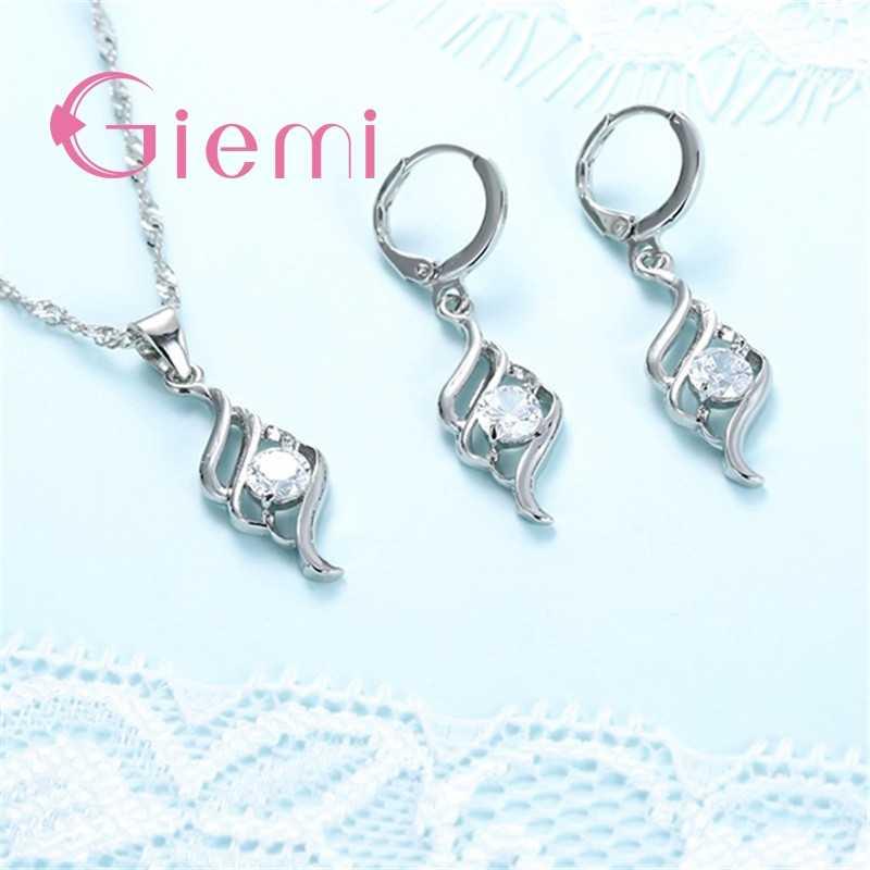 Schöne Feste 925 Sterling Silber Schmuck Sets für Frauen Hochzeit Engagement Party CZ Engel Flügel Anhänger Halskette Hoop Ohrringe Set