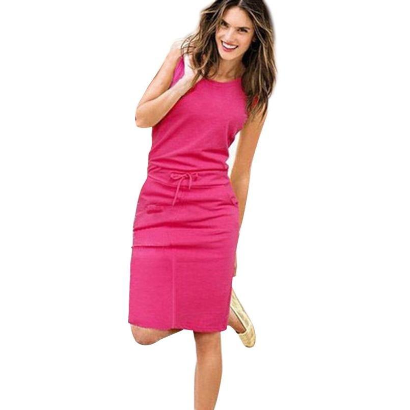 new Summer Dress Casua Womens Holiday Sleeveless Pockets With Belt Pencil Sundress Ladies Summer Beach Casual Party Dress(China)
