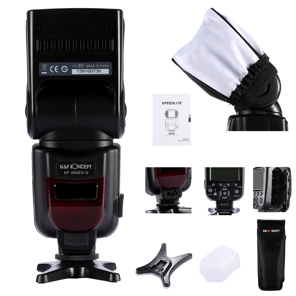 ФОТО KF-590EX i-TTL Top Speed Flash Speedlite Light For Nikon D5100 D5200 D5300 D3100 D3200 D3300 7100D DSLR Photography Accessories