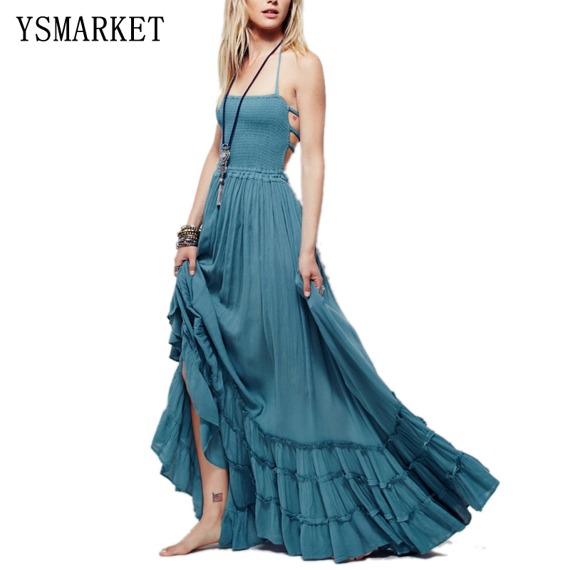 Boho Summer Crinkly Strapless Maxi Dress Halter Tie Beach Dresses Raw Seam Hem Vestidos Low Strappy Back EA8118