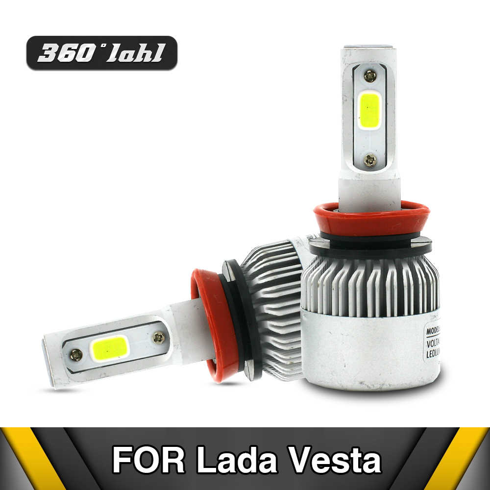 LED Headlight H1 H7 H11 HIGH LOW FOG Head lamp Exterior Conversion Headlights HID BULB For Lada Vesta 2005-2018 Ship from Russia