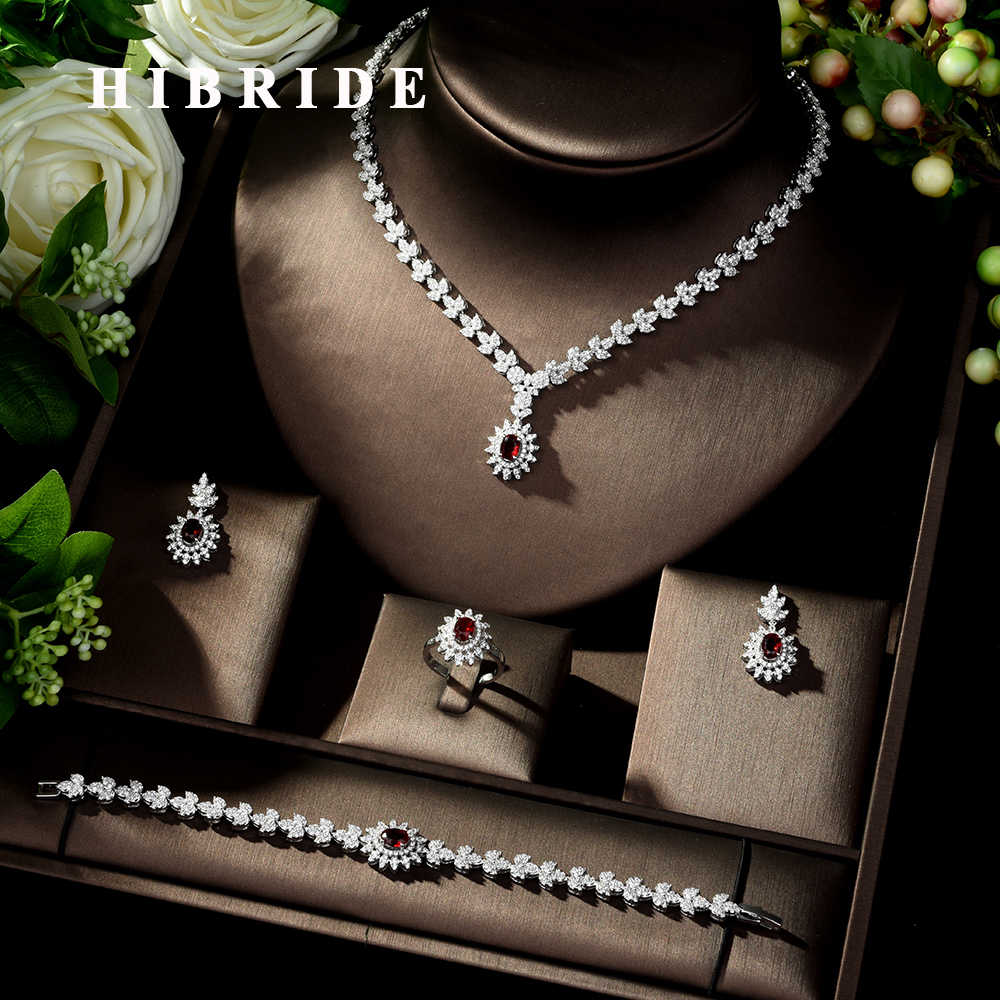 HIBRIDE Fashion Simple AAA Cubic Zirconia Crystal Women Earrings Necklace Set for Brides Wedding Costume Jewelry Set N-329