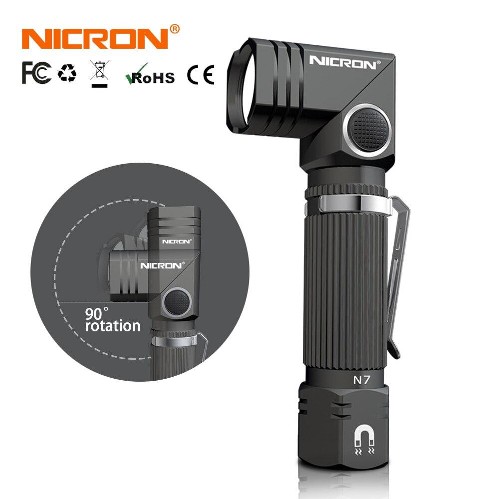 NICRON Ha Condotto La Torcia Elettrica Handfree Dual Fuel 90 Gradi Torsione di Rotazione Della Clip 600LM Magnete Impermeabile Mini Illuminazione A LED Torcia Outdoor N7