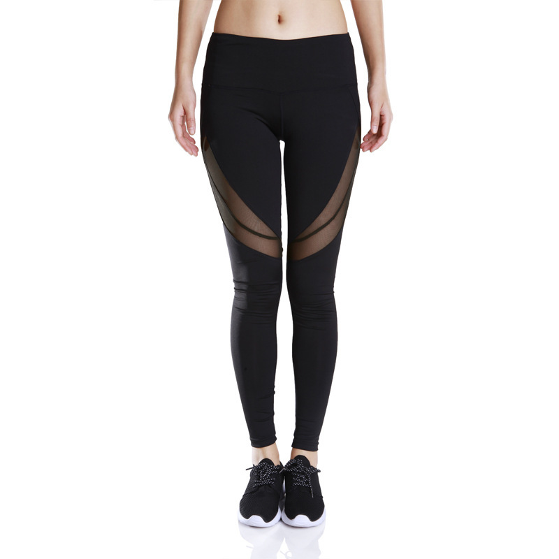Fashion Women Leggings Sweat Absorption Quick Drying Stretch Mesh Pants Black Ankle-Length Trousers Slim Fitness