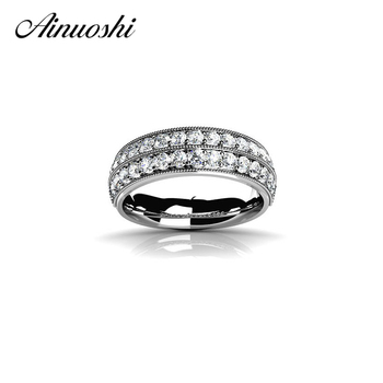 AINUOSHI Classic Two Rows Drill Solid 925 Sterling Silver Ring Women Silver Jewelry Brand Wedding Rings Lady Party Birthday Gift