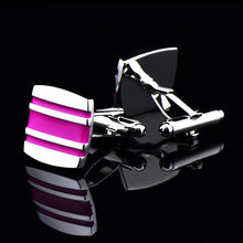 Bridegroom Wedding Business Men French Shirts Cuff Links Rose Red Pink Enamels Striped Cufflinks Silvery Cufflink With Gift Bag(China)