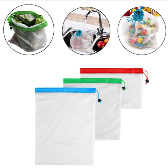 Image 2 - 12/15Pcs Reusable Mesh Produce Bags Grocery Fruit Vegetable Toys Storage Shopping Eco Polyester Bags Kitchen Storage-in Bags & Baskets from Home & Garden