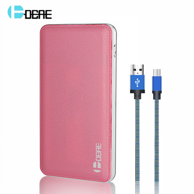 Dcae ultra-fino banco de energia móvel 12000 mah 2 usb bateria de polímero de li bateria externa powerbank carregador portátil com 1 m cabo micro usb