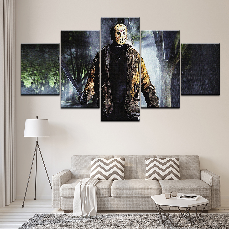 5 panel large HD printed oil painting Friday The 13th canvas art print modern home decor ...