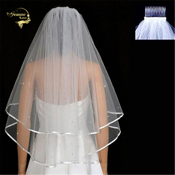 Wholesale 60cm-80cm Two Layers White Ivory Wedding Veil With Comb Sequins Bridal Veils Wedding Accessories Veu De Noiva OV4922 eudress two layers white ivory wedding veil short tulle veils with comb wedding accessories bridal veils with sequins
