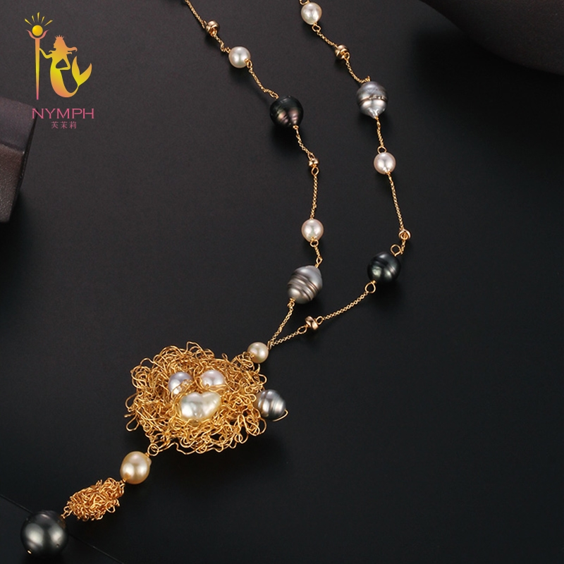 купить [NYMPH] Long Pearl Necklace Women Fine Jewelry Natural Freshwater Pearl Necklace Double Layer Party Gift New Trendy Circle X342 по цене 30274.44 рублей