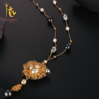 [NYMPH] Long Pearl Necklace Women Fine Jewelry Natural Freshwater Pearl Necklace Double Layer Party Gift New Trendy Circle X342