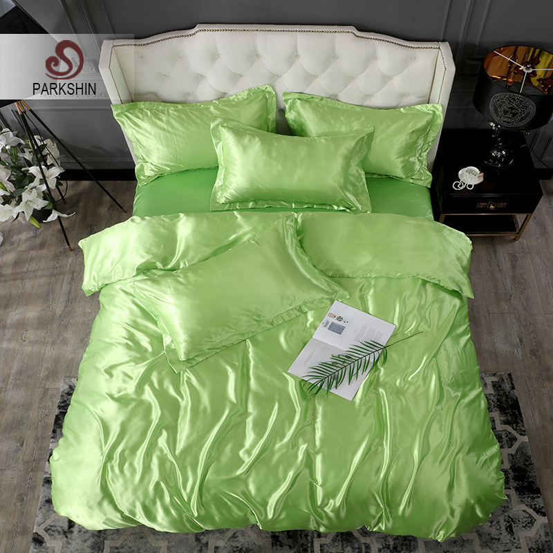 ParkShin Green Bedding Set Luxury Bedspread Double Duvet Cover Flat Sheet Bed Linens Family Satin Silk Green Adult Quilt Cover