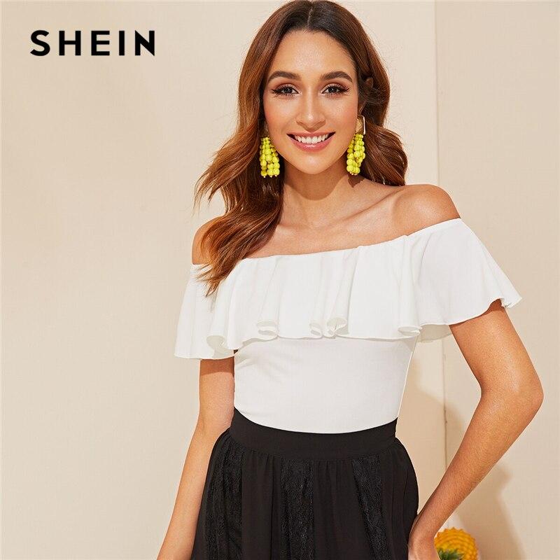 SHEIN Elegant White Flounce Off Shoulder Fitted Top Solid   T     Shirt   Women Summer Sleeveless Basics Slim Tshirt Tops