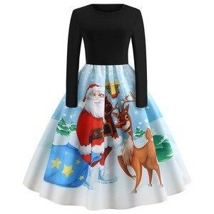 Image 2 - Sukienka vintage kobiety z długim rękawem druku sukienka świąteczna zima elegancki Swing Party sukienki szata Femme na co dzień Rockabilly Vestidos