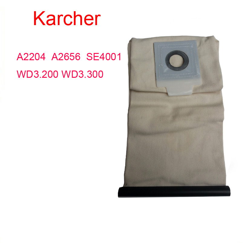 karcher parts A2204  A2656  SE4001 WD3.200 WD3.300 Washable Cloth Bags vacuum cleaner bag Reuse Pattern Free Shipping karcher vacuum cleaner bag washable cloth bags for bv5 1 reuse pattern parts free shipping