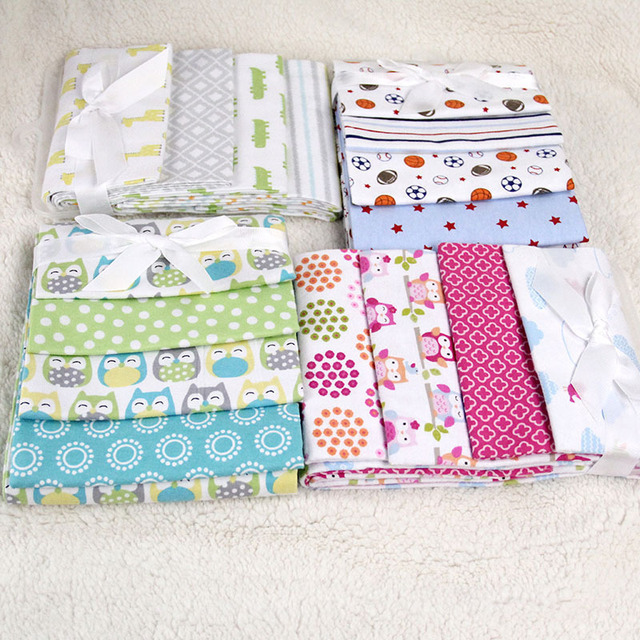NEW color 100%cotton flannel baby blanket 4pcs/pack receiving newborn colorful baby bedsheet supersoft blanket 76x76cm