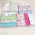 NUEVO color 100% de algodón de franela manta de bebé 4 unids/pack colorido sábana bebé supersoft de recepción del recién nacido manta 76x76 cm