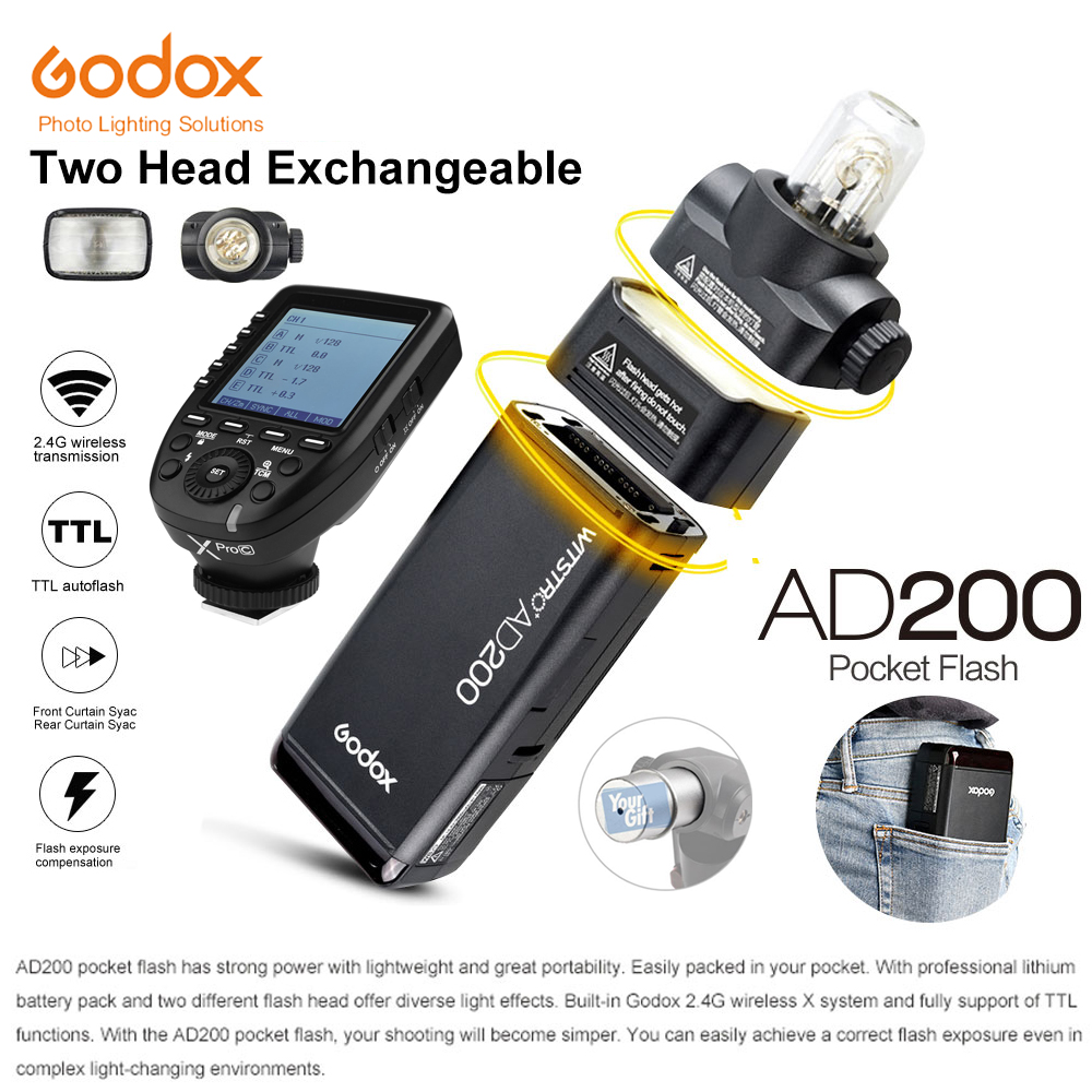 Godox Pocket Outdoor Flash AD200 Convertible cap 2.4G Wireless 200WS TTL HSS 1/8000s sync+Xpro-C/Xpro-N/Xpro-S/Xpro-O/Xpro-F Kit