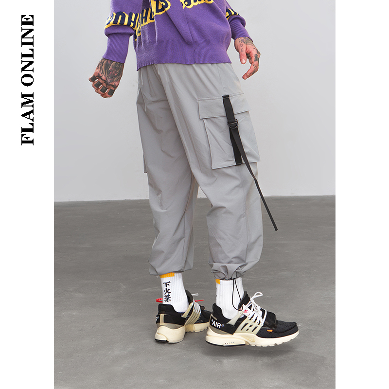 FLAM ONLINE 2019 Elastic Waist Patchwork Track Pants Men Hip Hop Windbreaker Street wear Trousers Harem hop Swag