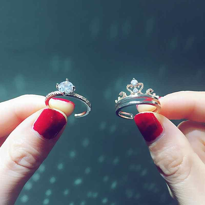 Zircon Crown 2pcs Ring Set For Women Girls Adjustable Rings 2019 New Trendy Jewelry Accessories Multi-function Birthday Gifts