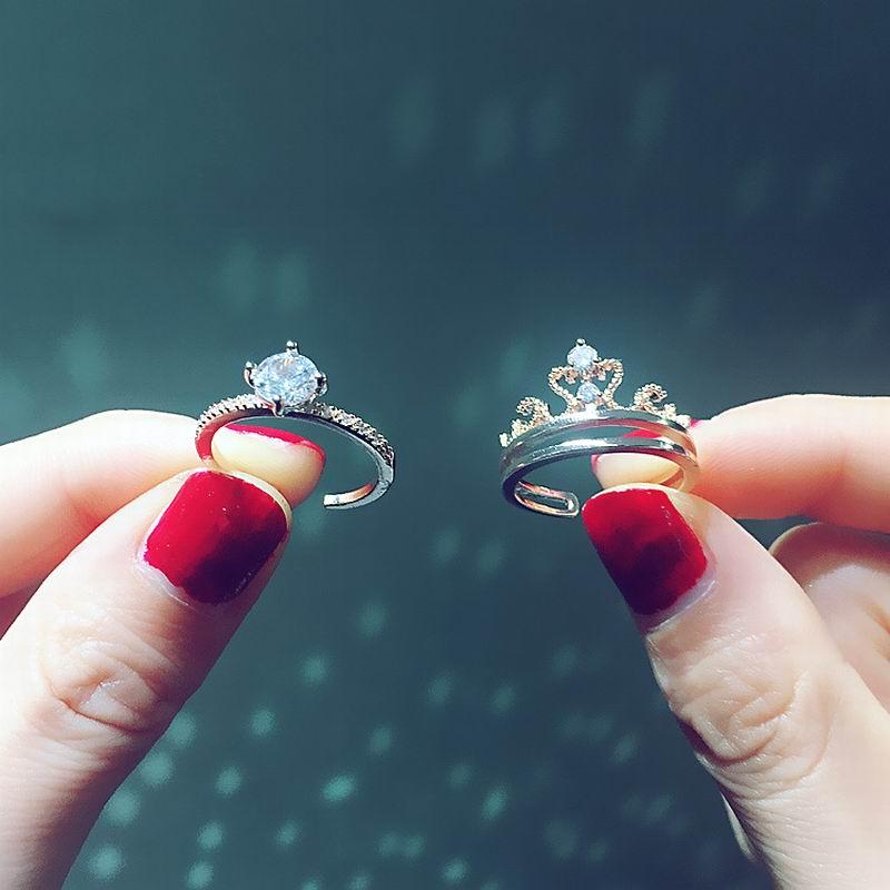Комплект колец с циркониевой короной из 2 предметов для женщин и девочек, регулируемые кольца, новые модные ювелирные аксессуары, многофунк...