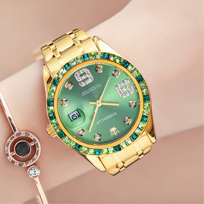 Women's Watch Luxury Top Brand Women Watches Green Japan Movt Crystal Female Wrist Clock Water Resistant With Original Box